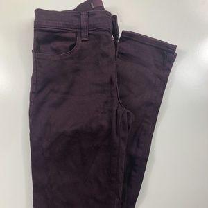 J Brand Super Skinny Dark Plum Low Rise Jeans DV35